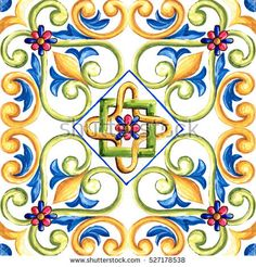 Ornaments On Tiles Watercolor Spain Italy Stock Illustration 527178538 Tuile, Mandala Drawing, Painting Process, Tile Art, Art Journal Pages, Hand Painted Ceramics, Pictures To Paint, Tile Patterns, Ceramic Painting
