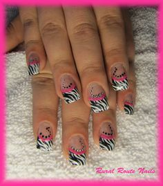 Gel Nails-White French Tip with Zebra Stripes and Dot Art