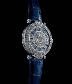 Franck Muller blue sapphire and white diamond double mystery watch.