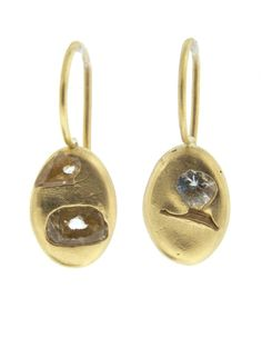 Polly Wales gold & precious stone earrings, also does beautiful rings