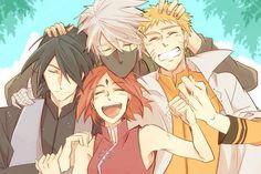kakashi hatake, naruto, naruto uzumaki, sakura haruno, sasuke uchiha, team 7, anime