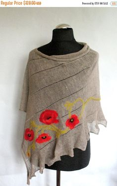 Linen Shawl Cape Clothing Natural Gray Red Poppy by Initasworks Cape Clothing, Wool Felt, Felted Wool, Womens Linen Clothing, Linen Skirt, Red Poppies, Shawls And Wraps, Winter Accessories, Stylish