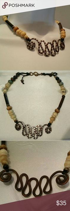 Handmade Bohemian Copper and Bead Necklace Copper art and beads created as a choker necklace.  16 inches long. Handmade Jewelry Necklaces