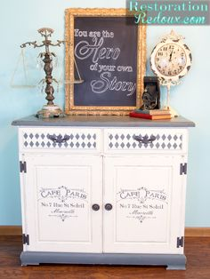 Plaster Paint Stenciled Cabinet