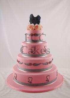 Wedding Cake Pink and Dark Wings - Piece Montee Mariage Rose et ailes noires - Bruidstaart