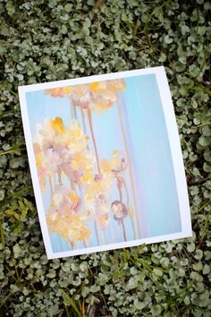 Abstract Flower Painting Giclee Print - Blue, Yellow Blossoms - 8 x 10. $20.00, via Etsy.