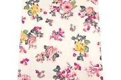 Pink Yellow Floral Print Knit Jersey Fabric 42 inches length