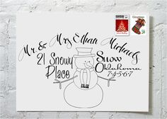 Christmas Card Snowman- another cute way to address Christmas cards!