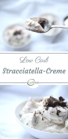 Unglaublich köstliche Low Carb Stracciatella-Creme Rezept ohne Zucker Dessert Rezept kohlenhydratarm