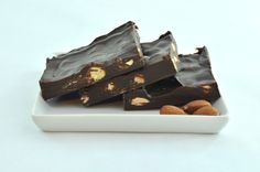Dark Almond Bark is made with whole almonds and french vanilla chocolate.