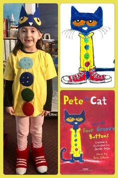 Pete the cat 4 groovy buttons costume  sc 1 st  Pinterest & The Bean Sprout Notes: Pete the Cat Four Groovy Buttons Costume ...