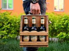 Wooden six pack beer carrier, Wooden Beer Carrier, Wooden Beer Caddy Wooden Beer Caddy, Beer Table, Storage Bench Seating, Personalized Birthday Gifts, Wooden Textures, Beer Gifts, Smart Kitchen, Six Packs, Picture Design