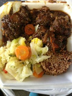 jerk wit redbeans and ric and steam cabbage!IM IN HEAVE… Jamaican foodmy fav ! Jerk off with beans and rice and steamed cabbage ! IM IN HEAVEN Oxtail Recipes, Meat Recipes, Indian Food Recipes, Cooking Recipes, Healthy Recipes, Ethnic Recipes, Jamaican Cuisine, Jamaican Dishes, Jamaican Recipes