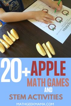 Find all sorts of apple math games and activities for kids, including hands on learning, free printables and fun Apple STEM challenges. #math #STEM #Fallmathlesson #homeschool #mathactivities Easy Math Games, Math Card Games, Kindergarten Math Worksheets, Math Resources, Maths, Educational Activities For Kids, Stem Activities, Free Printable Math Worksheets, Free Printables