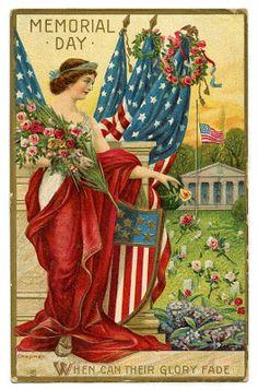 Vintage Memorial Day Image - Lady Liberty Postcard