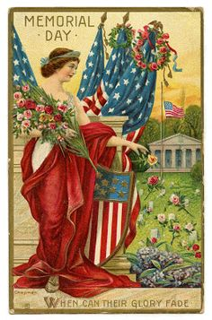 Vintage Memorial Day Image - Lady Liberty Postcard