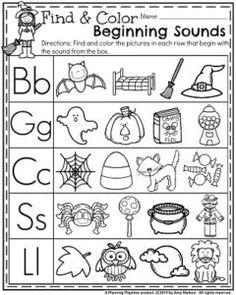 October Preschool Worksheets - Find and Color beginning sounds.