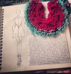 Sketchbook layout. Knitted sample and illustrations. By Sarah Davies.