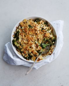 Classic broccoli casserole gets a flavor kick from tangy sour cream and nutty Gouda cheese. Cremini mushrooms and Worcestershire sauce up the umami factor.