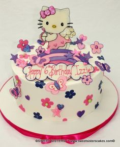 Have a happy Hello Kitty birthday for your little girl! #desserts #cake #birthdaycake #hellokitty #flowers #pink #SweetSisters