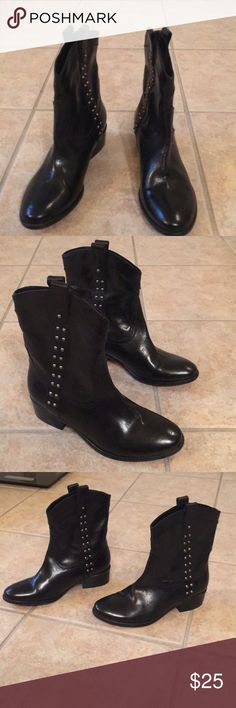 Johnson & Murphy Women's Short Boot Black leather never worn with silver studs. Johnston & Murphy Shoes Ankle Boots & Booties