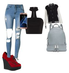 """Untitled #13"" by alevsumer on Polyvore featuring Demonia, Marc Jacobs, MICHAEL Michael Kors and Samsung"