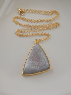 SALE Grey Druzy Necklace on a 28 inch Gold Fill by MalieCreations, $65.00