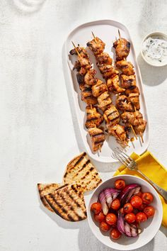 Spiced Chicken and Veggie Kebabs With Grilled Pita Bread Chicken Spices, Soy Chicken, Chicken Kebab, Chicken Skewers, Chicken And Vegetables, Chicken Marinade Recipes, Chicken Marinades, Pork Recipes, Grilling Recipes