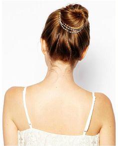 Boho Gold Tone Leaf Hair Cuff Chain Comb Wedding Prom Graduation Party French Bun Head Chain Jewelry