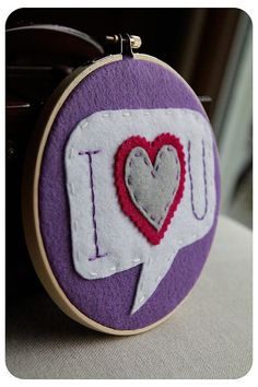 Embroidery Hoop Art I Heart U Purple Pink Grey by CatshyCrafts, $35.00