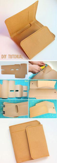 Kraft Paper Wallet handmade. DIY Tutorial http://www.handmadiya.com/2015/10/kraft-paper-fabric-wallet.html