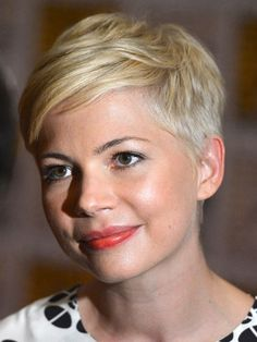 Short: Michelle Williams  Williams has a slender, heart-shaped face, which makes her sideswept pixie look especially distinguished and fresh. To keep super-short hair like this from sticking up, apply a little mousse, then rub a dab of pomade all over hands, touching just your ends to secure them in place.    Read more: Celebrity Hair - Best Celeb Hairstyles - Redbook