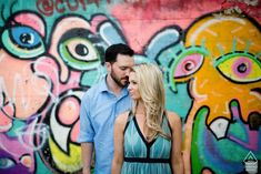 New England wedding engagement portrait of a couple with a graffiti mural wall by RI pre-wedding wedding photographer Kevin Trimmer Engagement Shoots, Engagement Photography, Wedding Engagement, Still Photography, Photography Poses, Boy Maternity Photos, Graffiti Photography, Graffiti Murals, Boy Pictures