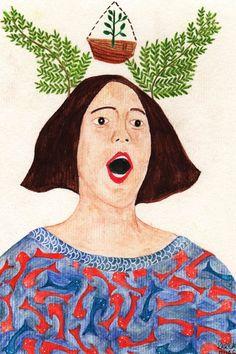 Cantora lírica, desenho de Karlas Ruas, à venda no site da TURN TO ART.