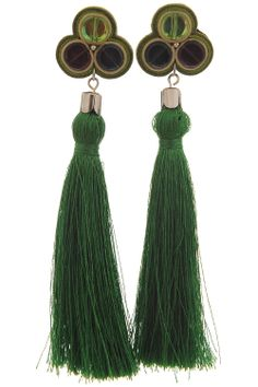 Cercei Ondine ciucuri matase verde Ondine, Tassel Necklace, Drop Earrings, Jewelry, Fashion, Moda, Jewlery, Jewerly, Fashion Styles