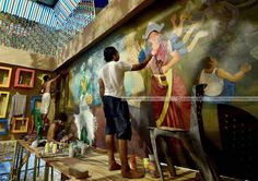 Painters in the work of durga in Kalkata for the Navratri.