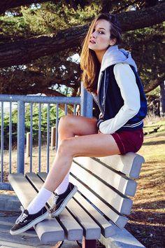 California Daze shot by Cathy Rong. Vans authentics, maroon shorts. Women's street style, fashion