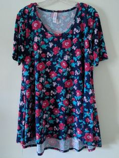 NWT Womens LuLaRoe Perfect T Tee Short Sleeve navy blue pink floral 3XL