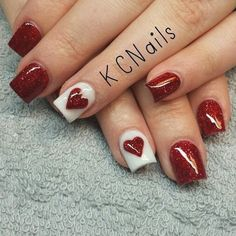 Red Nail Art for Valentines Day: Eclectic stories of Red, that's tastefully sophisticated Red nail designs for valentine's day are just perfect. If you love Nail art designs, then you would love to look at these Nail art ideas in Red for V Day. Love Nails, Pink Nails, Pretty Nails, Maroon Nails, Style Nails, Valentine's Day Nail Designs, Acrylic Nail Designs, Acrylic Nails, Nails Design