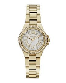 Michael Kors Michael Kors Mini-Size Golden Stainless Steel Camille Three-Hand Glitz Watch