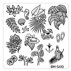 Hangloose Nail Art Manicure Stamping Plate - BM-S410, Beach This Way ($2.99)