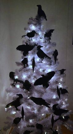 35 Black Christmas Tree Ideas 'coz everything else is just Background Noise - Hike n Dip - - I bet you agree that there is something magnetic and irrestible about the color black! Why not try some elegant Black christmas tree ideas for Christmas? Black Christmas Tree Decorations, Black Christmas Trees, Xmas Tree, Christmas Fun, Holiday Decor, Themed Christmas Trees, Funny Christmas Tree, Tree Tree, Holiday Tree