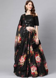 #black #floral #digital #printed #organza #lehenga #choli #designs # traditional #indian #outfits #gorgeous #wedding #look #ootd #new #arrival #womenswear #online #shopping Choli Dress, Lehenga Choli, Off Shoulder Lehenga, Choli Designs, Lace Detail, Floral Prints, Women Wear, Sequins, Indian Outfits