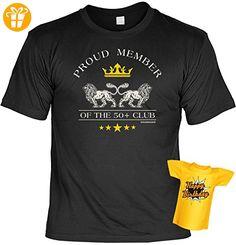 Geburtstags-Fun-Shirt-Set inkl. Mini-Shirt/Flaschendeko: Proud Member of the 50+ Club (*Partner-Link)