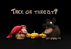 Sheep & Jack o' lantern Trick or threat funny halloween