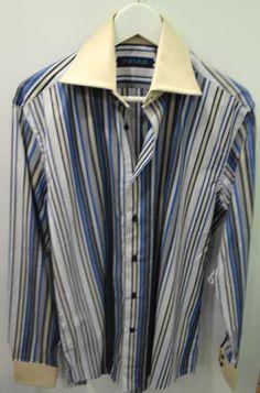 Camisa rayas cuello crema Alea