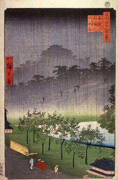 Utagawa Hiroshige - Night Rain at the Paulownia Grove at Akasaka