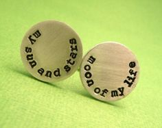 Aluminum Cufflinks - Game of Thrones Inspired - My Sun and Stars & Moon of my Life - Hand Stamped Pair
