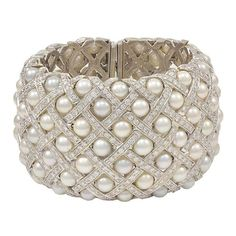 GABRIELLE'S AMAZING FANTASY CLOSET | Van Cleef & Arpels: Fabulous Wide Pearl Diamond Cuff Bracelet