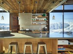 Interior, Kitchen, Windowing Love the open kitchen with a massive center island and wood plank ceiling